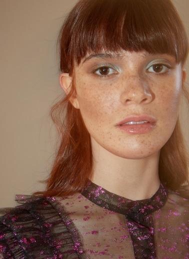 morhipoxsudi etuz Fırfır Detaylı Metalik Desenli Tül Elbise Fuşya
